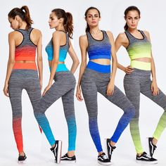 2017 Two Piece Yoga Sets Gym Fitness Clothing Women Training Running jogging Suit Workout Tight Activewear Sports Wear Promotion #Affiliate