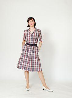 60s Dress - 1960s Plaid Dress - The Camp Counselor Dress