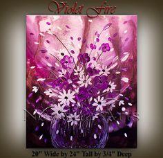 Original large Textured PURPLE Flower Art poppy by artgallerys, $229.00  -  etsy.  sorry mork, i love it!   lj