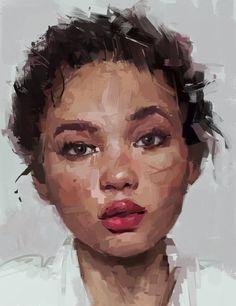 "Portrait Drawing ""It is now"" - Ivan Turcin - Photoshop {beautiful female young woman face digital portrait painting} - L'art Du Portrait, Portrait Acrylic, Portrait Images, Portrait Ideas, Digital Portrait Painting, Oil Painting Portraits, Self Portraits, Portrait Inspiration, Painting Inspiration"