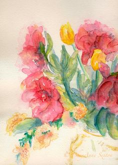 Watercolor giclee Bouquet of Pink Peony Blossoms yellow tulips watercolour print 8x10
