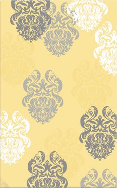 The Rug Market Kids Brocade Yellow 12362 Yellow and White and Grey area rug