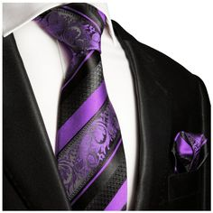 Purple and Black Silk Tie Set . Paul Malone Red Line