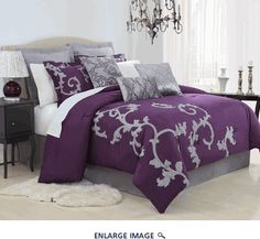 9 Piece Queen Duchess Plum and Gray Comforter Set - perfect for my purple and grey walls!!
