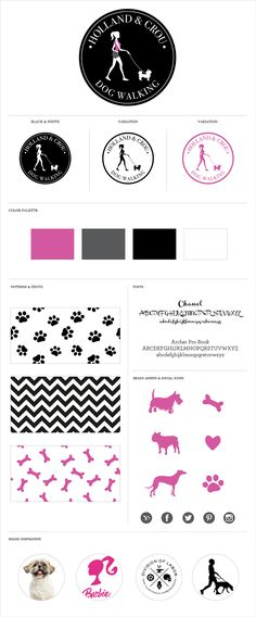 Brand Identity System for Holland & Crou Dog Walking / Logo Design / Branding / Girly Logo / Dog Logo