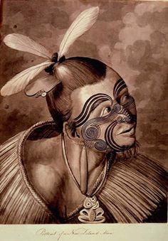 Illustration from one of the Captain Cook Voyages. Sydney Parkinson, 'Portrait of a New Zealand Man' pen and wash on paper History Images, Art History, Framed Art Prints, Painting Prints, Ta Moko Tattoo, Tattoo Museum, Henna, New Zealand Tattoo, Maori Tattoo Designs