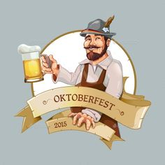 Buy Oktoberfest Man by Alex_cardo on GraphicRiver. Oktoberfest man standing with big beer mug in right hand. Logo template with place for your text Man Character, Character Design, Typo Logo Design, Graphic Design, Beer Cartoon, Comic Costume, Beer Pictures, Beer Fest, German Beer