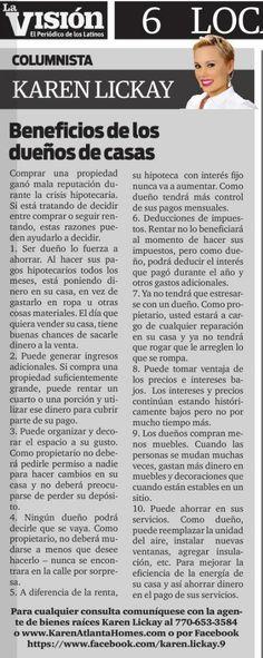 Amigos, no se pierdan mi más reciente columna de bienes raíces en el distinguido periódico La Visión. El tema de esta semana se trata de los beneficios que tiene ser dueño de casa en vez de rentar. Disfruten!