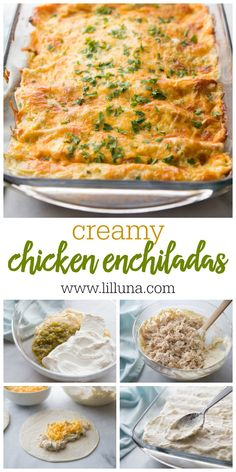 Mexican Food Recipes 95462 Creamy chicken enchiladas made with chicken, sour cream, cream cheese and more stuffed into a soft flour tortilla. These are the creamiest chicken enchiladas you will ever find! Green Chili Enchiladas, Creamy Chicken Enchiladas, White Sauce Enchiladas, Rotisserie Chicken Enchiladas, Low Carb Enchiladas, Sour Cream Chicken, Green Chili Chicken, Chicken Chorizo, Gastronomia