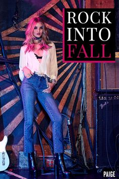 PAIGE Fall '16 Campaign with Rosie HW featuring the Lupita Blouse + Colette Crop Flare in Cosmo