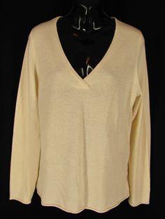 Old Navy Cashmere Sweater XL Ivory V Neck Pullover Rolled Hem Soft Warm Washable #OldNavy #VNeck #EveryDay
