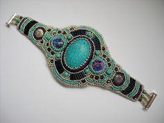 Girly Cuff Bead Embroidery Bracelet Cuff by PreciousHeartBeads, Etsy