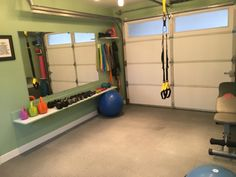 My husband and I converted our garage into a home gym where I now train clients as well! Located in West Seattle. Home Gym Basement, Home Gym Garage, Diy Home Gym, Gym Room At Home, Home Gym Decor, Garage Loft, Garage Shop, Workout Room Home, Workout Rooms