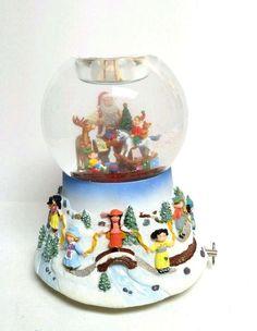 Partylite Santa At His Shop Snowglobe Tealight Holder Musical P8202