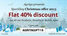 Agriya's Lavish #ChristmasGift - A 40% Off On All Products, Modules & Mobile Apps  Check out: http://www.clonescripts.co/2015/12/agriya-lavish-christmas-gift-40-off-on-all-products-modules-mobile-apps.html