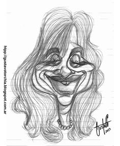 Boceto que hice en lápiz de Cristina Kirchner, de fondo se ven las rayas horizontales de la hoja sobre la que dibujé
