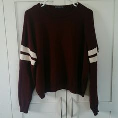 Brandy Melville maroon Veena varsity sweater Super cute, color just doesn't match me! Brandy Melville Sweaters Crew & Scoop Necks
