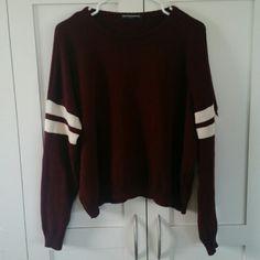 Brandy Melville maroon Veena varsity sweater Super cute, color just doesn't match me! Brandy Melville Sweaters Crew & Scoop Necks