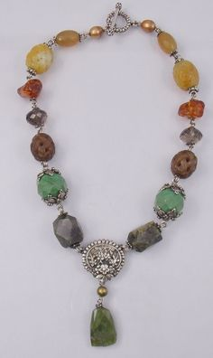 Stephen+Dweck+Sterling+Silver+Chunky+Multi+Stone+Amber+Quartz+Toggle+Necklace++#StephenDweck+#Statement