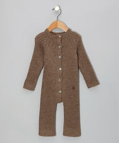 Take a look at this Chocolate Ribbed Alpaca Wool Playsuit - Infant by Janus Design Wool on #zulily today!