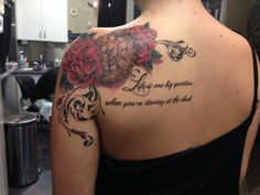 "My Sublime tattoo.... ""Life is one big question when you're staring at the clock"" a quote from 40 oz to Freedom. Along with scarlet begonias framing a pocket watch set to my birthday 8/26."