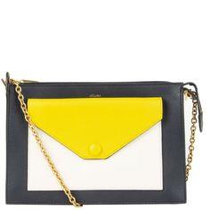 Céline Envelope Clutch Midnight Blue Yellow Off-White Chain Shoulder Bag, Shoulder Strap, Envelope Clutch, Luxury Shop, Midnight Blue, Blue Yellow, Celine, Off White, Fendi