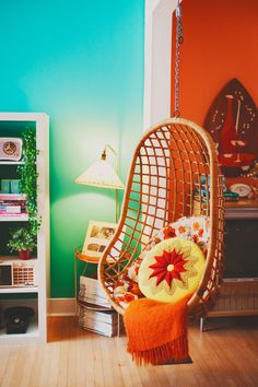 Adorable hanging chair in Stefanie Hiebert's atomic home!