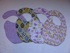 4 Triple Layer Adjustable Flannel Baby/Toddler Girl Snap Bibs - Set of 4 Bibs - Purple Flowers/Yellow & Gray Bird Houses/Birds/Pink Flowers