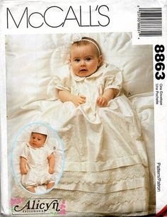 Infant Christening Gown Romper Hat McCall's by AdeleBeeAnnPatterns