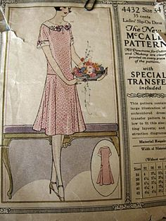 Vintage 1920s 20s McCall Dropwaist Flapper Dress Sewing Pattern with Transfer.