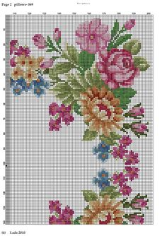 Cross stitch Sq. floral cushion part3 Cross Stitch Rose, Cross Stitch Borders, Cross Stitch Flowers, Counted Cross Stitch Patterns, Cross Stitch Charts, Cross Stitching, Cross Stitch Embroidery, Needlepoint Stitches, Needlework
