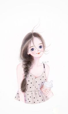 Cartoon Girl Images, Girl Cartoon Characters, Cute Cartoon Drawings, Cute Cartoon Pictures, Cute Cartoon Girl, Girly Drawings, Cartoon Art Styles, Beautiful Girl Drawing, Cute Love Pictures
