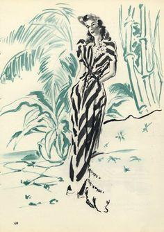 Robert Piguet couture | illustration by Pierre Laurent Brenot | 1945