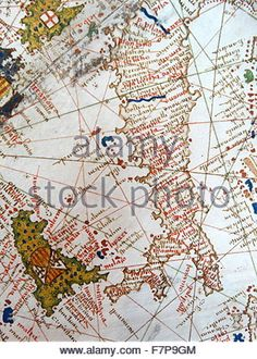 Renaissance map of Europe, Jacopo Russo, 1528, Italy and Sicily (detail) - Stock Photo
