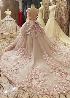 Lilybridalshop Luxurious Tulle & Lace Sheer Jewel Neckline Ball Gown Wedding Dress With Lace Appliques & 3D Flowers & Beading