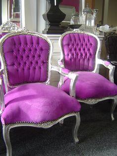 Purple chairs.