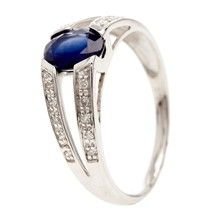Comptoir du diamant Mon Sapphir - Anillo de oro blanco con diamantes y zafiro - plateado