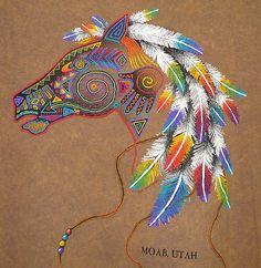 Sportex Embroidered Colorful Native American Indian Horse Pony T Shirt Native American Horses, Native American Artwork, American Indian Art, Native American Tattoos, Indian Illustration, Indian Horses, Indian Animals, Watercolor Horse, Tattoo Watercolor