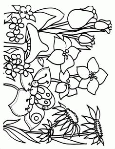 flower Page Printable Coloring Sheets | Spring Coloring Pages - ColoringPagesABC.com