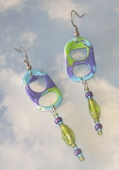 Purple/Turquoise/Kiwi Pop Tab Earrings | Flickr - Photo Sharing!