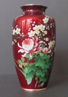 Red Ginbari Cloisonne Vase with Flowers.