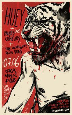 Huey Gig Poster - Jon Suguiyama