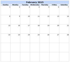 Download February  Calendar Printable Template  Design Blank