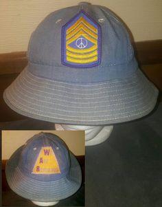 8fcdc847c3563 Vintage 60 s   70 s NOS Denim Daisy Mae Unisex Hippie Hat SZ 6 3 4 Peace  Sign Anti War Embroidered Patches Festival Boho