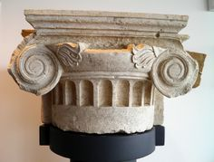 Ionic capital -- of a pilaster from the palace at Pella, Archaeological Museum of Pella. Alexander the Great was born in Pella in 356 BC and succeeded his father Philip II to the throne at the age of twenty. Ionic Order, Column Capital, Alexander The Great, Macedonia, Ancient Greece, Ancient Art, Art And Architecture, Decoration, Museum