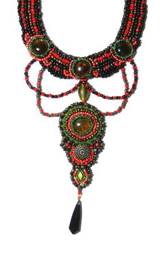 Beaded red green collar gothic necklace by by AniDandelion on Etsy, $130.00