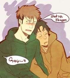 Jean and Marco.  I'm sorry, but this is adorable. #AttackOnTitan