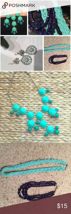 Blue Jewel's Bundle J Crew Bubble Necklace Navy Beaded Collar Necklace Long Beaded Turquoise Necklace Light Blue Dangle Earrings  I'll be sure to package them all in baggies to ensure they make it to you safe and sound! Jewelry Necklaces