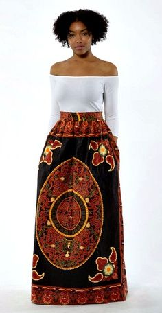 Brown Sugar African Print Ankara Skirt with Pockets. his Chic high waist maxi skirt is one of my bestsellers because it's a bold statement skirt that will make you feel like the queen that you are.  Ankara   Dutch wax   Kente   Kitenge   Dashiki   African print bomber jacket   African fashion   Ankara bomber jacket   African prints   Nigerian style   Ghanaian fashion   Senegal fashion   Kenya fashion   Nigerian fashion   Ankara crop top (affiliate)