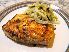 Seared Jalapeno Garlic Swordfish Steak with Fennel Olive Salad